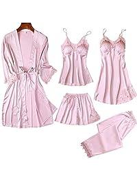 Chinashow Set of 5 Womens Satin Pajamas Set Sexy Ice Silk Suit Set Sleepwear/Nightwear Clothes, Pink #A