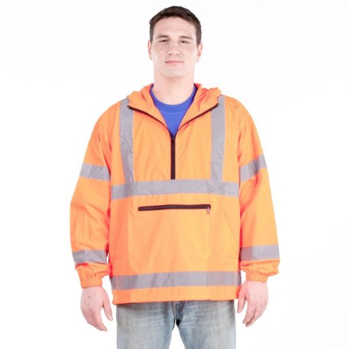Utility Pro UHV658 Nylon High-Vis Packable Pullover with Hood with Dupont Teflon fabric protector,  Orange,  Large