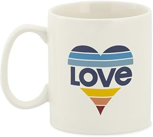 Life is good Adult Jakes Love Striped Heart Mug