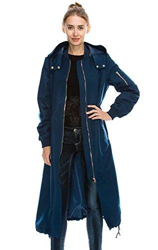 Daisy Women's Zipper Pocket Detail Hooded Long Waterproof Jacket. (S, DARK TEAL) (Zipper Trench)