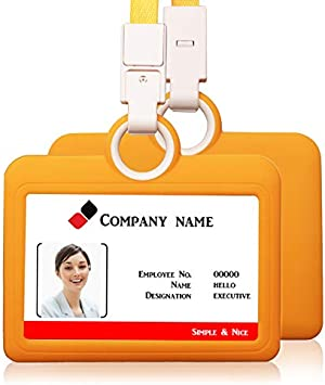 HEYDEFO Badge Holder,Silicone Horizontal ID Badge Card Holder with Lanyard Neck Strap Heavy Duty ID Card Business Card Offices Supplies Gray