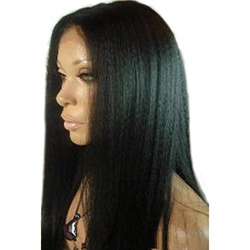 "Remeehi STOCK WIG Malaysia Yaki Straight 100% Brazilian Remy Human Hair Lace Front Wig 1# Jet Black 14"""