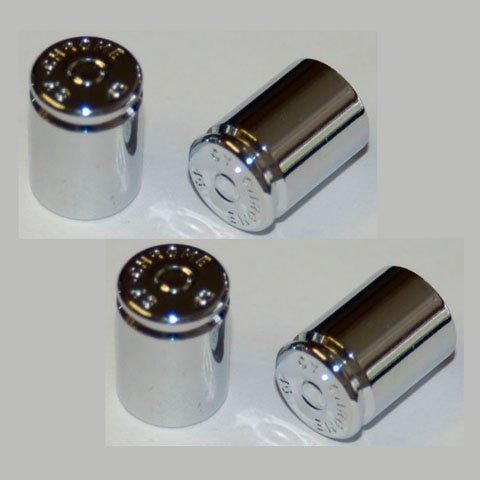 (Chrome Plated Brass 45-caliber Cartrige Replica Valve Stem Caps; Pack of 4)