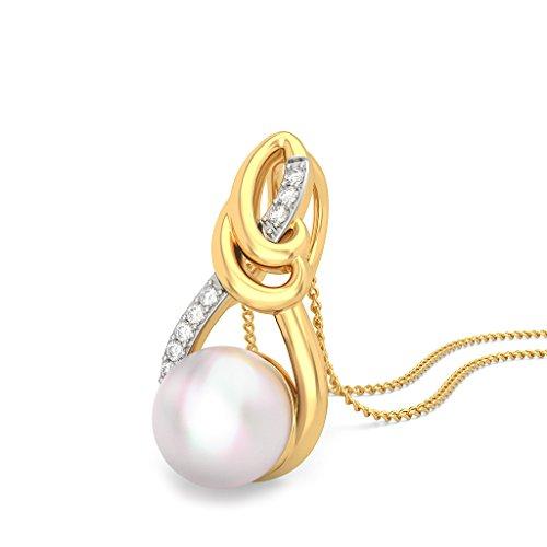 Or jaune 18K 0,05CT TW Round-cut-diamond (IJ | SI) et blanc perle Pendentif