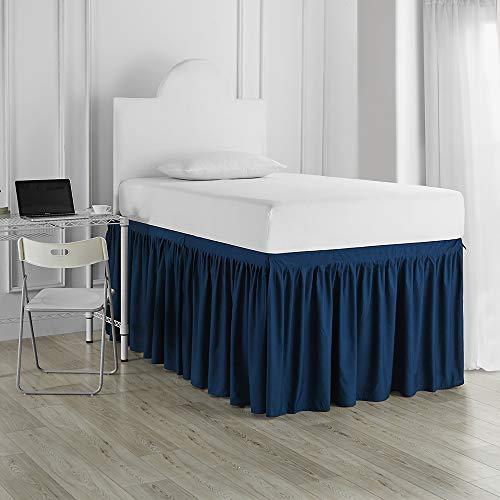 Dorm Sized Bed Skirt Panel with Ties (3 Panel Set) - Nightfall Navy