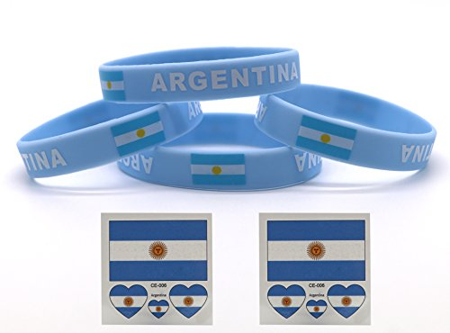 voidsyn Argentina Flag Silicone Rubber Wristband Bracelets,Tattoo Stickers for Soccer Fans,FIFA World Cup 2018 Show Your Support for Argentina National Team and Messi,Argentina Soccer Jersey 2018