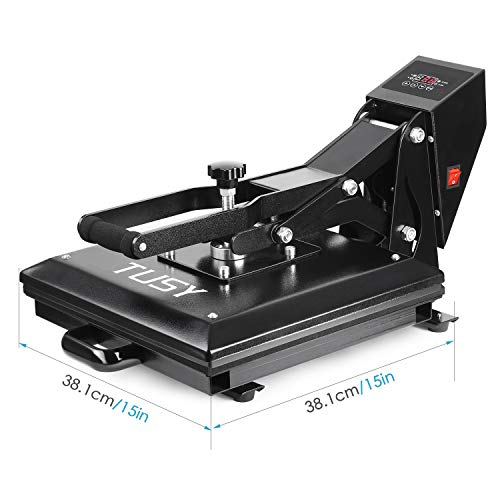 "Heat Press - TUSY Digital Heat Transfer Sublimation 15"" x 15"", Industrial Quality Heat Press Machine for T Shirts"
