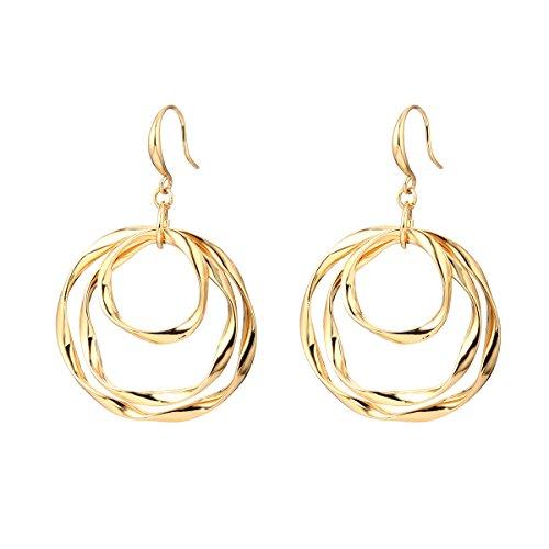 Women Dangle Earring Lucky Hula Hoop Drop Earring Girls' Novelty Shining Rhinestone Earring Stud Earring (Gold Plated Hula Hoop) (Lucky Rhinestone Earrings)