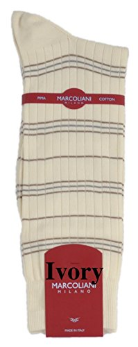 ExtraFine Pima Cotton Mid-Calf Elba Casual Stripe Sock - One Pair Ivory