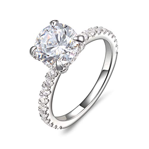 Lamrowfay 4-Prong Set 2.0 CT Round Brilliant Cut Simulated Diamond CZ Solitaire Engagement Wedding Ring Rhodium Plated Sterling Silver, 2.89 CTW (5)