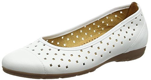 White Women's Ruffle Flats Gabor Leather Ballet White xOR1nqp