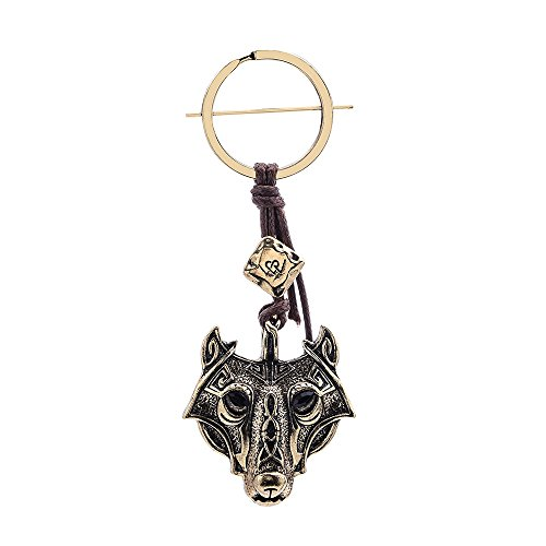 Men's Key Ring Brown Leather Cord Viking Norse Runes Keychain Wolf Head By Alchemy Gothic Car Key For Women