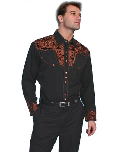 Scully Men's Floral Embroidered Western Shirt Black Large from Scully