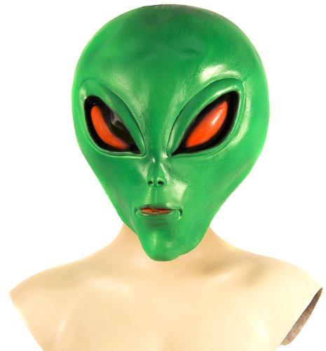 [HMS Men's Alien Mask Blacklight, Fluorescent Green, One Size] (Latex Alien Mask)