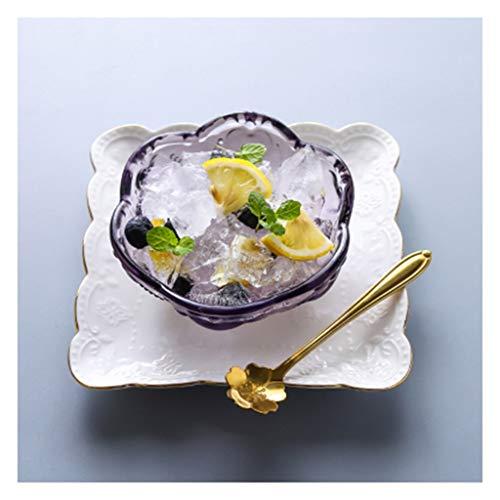 (SMC Bowl Cherry Blossom Glass Bowl Phnom Penh Dessert Bowl Sugar Tremella Soup Bowl Ice Cream Salad Bowl Bird's Nest Bowl Japanese-style Creative Ceramics Yellow, Pink, Purple Household Bowl: 4.5)