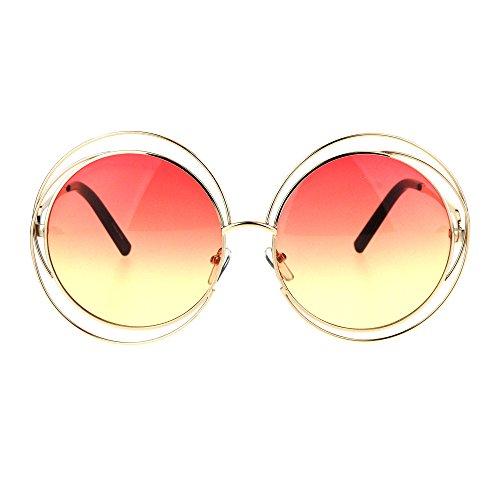 Avant Garde Double Circle Frame Round Designer Fashion Retro Sunglasses Gold - Garde Avant Sunglasses