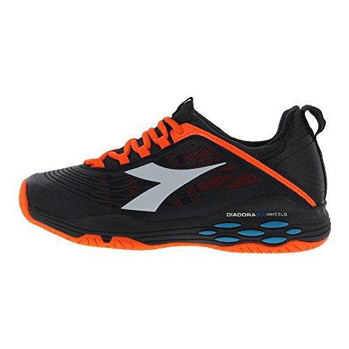 Diadora Hommes Vitesse Blushield Fly Ag Chaussures De Tennis Noir Et Orange Vibrant- (1729