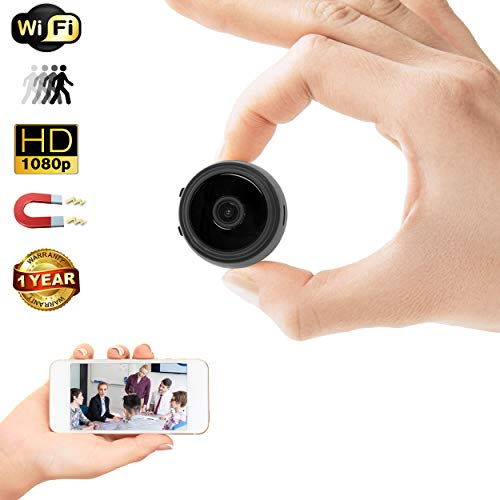 Mini Spy Camera with Wi-Fi - 35mm Wireless Hidden Camera, Home Security System, Nanny Cam - HD Wide Angle Camera with Loop Recording, Motion Detection, Night Vision + Memory Card Reader by Duddy-Cam