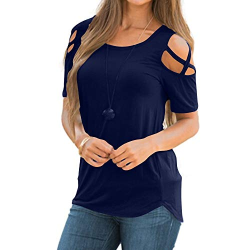 YQZB Women T-Shirt Summer Strappy Cold Shoulder Short Sleeve Tunic Round Collar Tees Tops Blouses Navy (Pb Tunic)