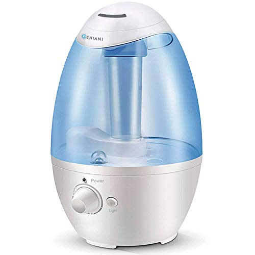 GENIANI Ultrasonic Cool Mist Humidifier - Best Air Humidifiers for Bedroom/Living Room/Baby with Night Light - Whole House Solution - Large 3L Water Tank - Auto Shut Off and Filter-Free