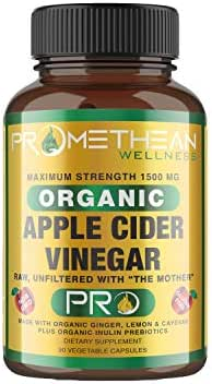 Organic Apple Cider Vinegar Capsules ACV Pro Diet Pills Detox Cleanse for Weight Loss Raw Unfiltered with Mother Powder Supplements Tablets Cayenne Ginger Inulin Fiber Prebiotics Lemon 1500mg 90ct