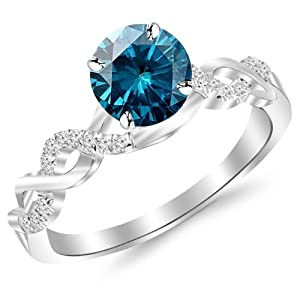 0.63 Carat 14K White Gold Twisting Infinity Gold and Diamond Split Shank Pave Set Diamond Engagement Ring with a 0.5 Carat Blue Diamond Center (Heirloom Quality)