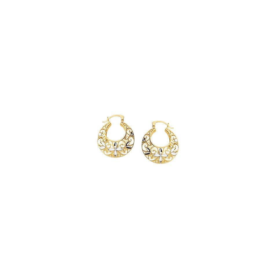 14K Two Tone Gold Diamond Cut Filigree Open Hoop Earrings Jewelry