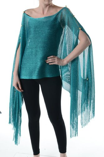 n Shawl Metallic Tunic Poncho Teal Cover One Size Scarf Top (Metallic Kimono)