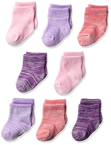 Hanes Ultimate Baby Flexy Ankle Length Socks 8-Pack, Purple/Pink, 0-6 Months ()