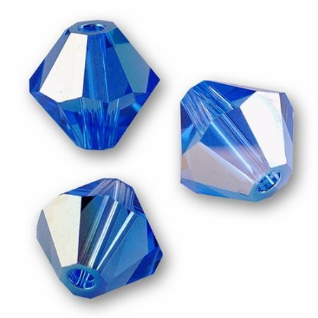 50 pcs - Swarovski Crystal Bicones 5301 4mm Sapphire AB Beads ()