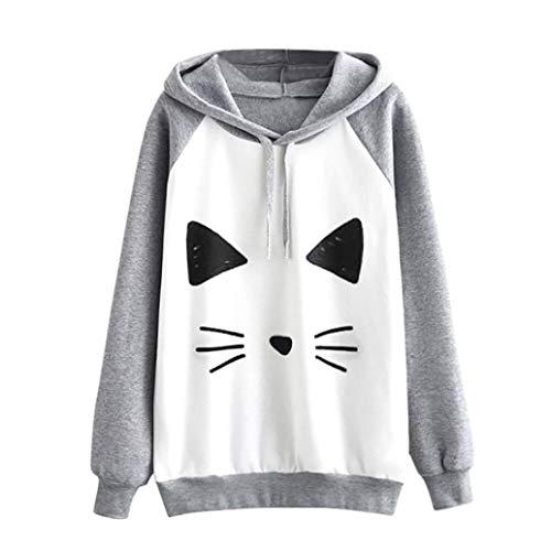 Women Hoodie Sweatshirt Daoroka Ladies Cotton Long Sleeve Print Cat Patchwork Drawstring Cute Autumn Winter Pullover Blouse Fashion Causal Loose Tunic Sport Tops T-shirt -
