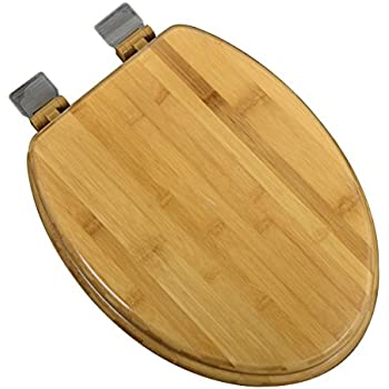 Bath Décor 5F1E1-20BN Elongated Rattan Bamboo Toilet Seat with Adjustable Brushed Nickel Hinge and Decorative Finish