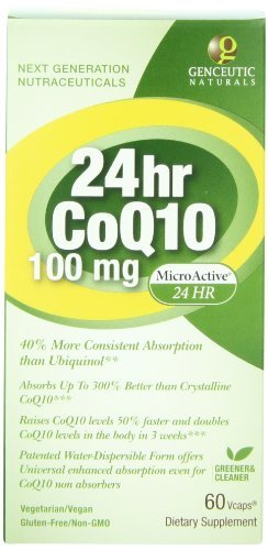 Genceutic Naturals 24 Hr Microactive CoQ10 Herbal Supplement 100 Mg, 60-Count (Pack of 3) by Genceutic Naturals