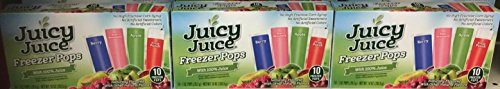 (Juicy Juice Freezer Pops Berry,Kiwi,Apple & Fruit Punch With Naturally Flavored 10 in Each - Pack Of 3)