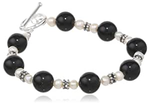 Sterling Silver Bali Bead, Onyx and Freshwater Cultured Pearl Toggle Bracelet, 7.5""