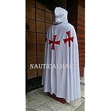 NAUTICALMART Knight Crusader Templar Medieval Cotton White Cloak With Crosses