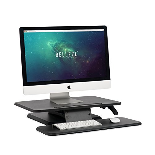 BELLEZE Sit Stand Desk Converter Ergonomic Height Adjustable Tabletop Standing Desk Gas Spring Monitor Riser w/Keyboard Tray by Belleze