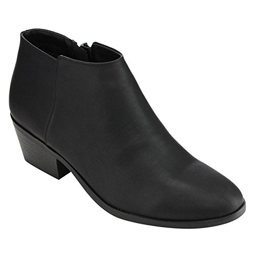 Ladies Bootie - SODA Women's Western Inside Zipper Stacked Heel Ankle Booties Black PU 6
