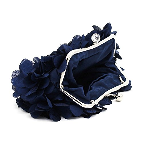Silk Clutch Design Women Flower and Wedding Satin Handbags more Blue evening Bag Brial Colors Kingluck c1xBn8ww
