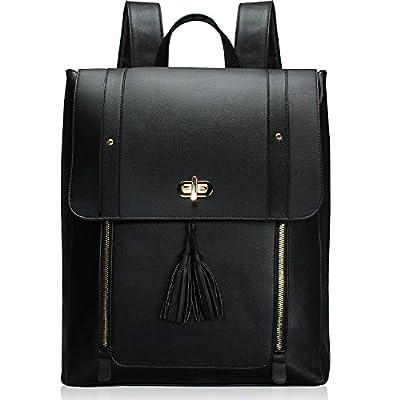ESTARER Women PU Leather Backpack 15.6inch Laptop Vintage College School Rucksack Bag (Black) by ESTARER