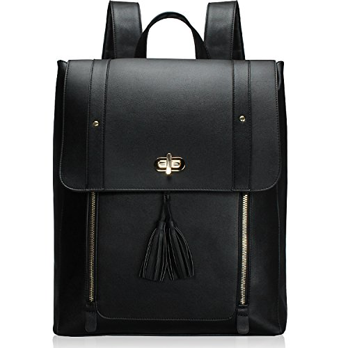 Estarer Upgraded Version Women PU Leather Backpack 15.6inch Laptop Vintage College School Rucksack Bag (black) (Detail Bag Leather Flap Satchel)