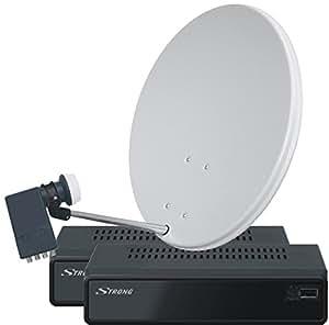Sky Vision fuerte PrimaSat II satélite Komplettanlage receptor cuádruple LNB (Durschmesser: 80 cm)