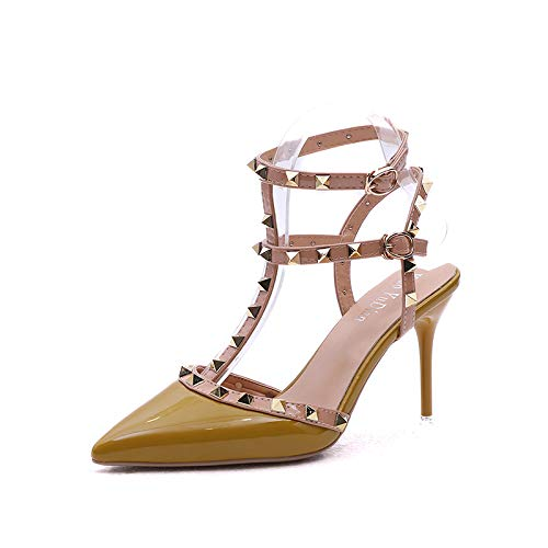 Yukun Schuhe mit hohen Absätzen Herbst Dick Mit Spitzen Mode Schuhe Wort Schnalle Baotou Sandalen Damen High Heels 38 Grau