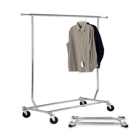 Commercial Grade Single Rail Rolling Salesman's Collapsible Garment Sales Rack