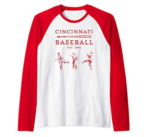 Classic Cincinnati Baseball Fan Retro Raglan Baseball Tee