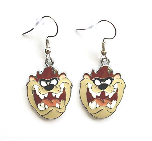 Looney Tunes Tasmanian Devil Taz Charm Cartoon Character Dangle Hook Earrings With Gift Box (Tasmanian Tunes Looney Devil)