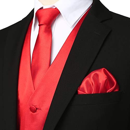 ZEROYAA Men's Solid 4pc Shiny Satin Vest Necktie Bowtie Pocket Square Set for Suit or Tuxedo ZLSV12 Red Large