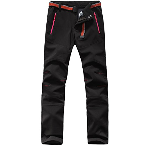 Womens Waterproof Outdoor Softshell Pants 330G BRUSH Polar Fleece 1608 Black Medium