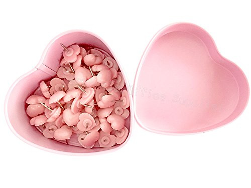 52 PCS Heart Push Pins, Pink Thumb Tacks Cute Push Pins, Bulletin Boards Wall Tacks, Plastic Heart Shaped Head Decorative for Wall Maps ()