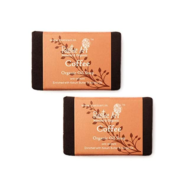 Rustic Art Organic Soap   Pack of 2 * 100 Gm (Coffee) 2021 June Rustic art coffee soap leaves a calming effect regulating the mood. It reduces the dark circles and balances skin contours. To top that, hemp and vanilla oil slow down the aging process while moisturizing the skin. They keep the skin healthy and takes care of the acne and its development. Each cold processed soap is handmade using highest quality cold pressed certified organic oils, essential oils and herbs.